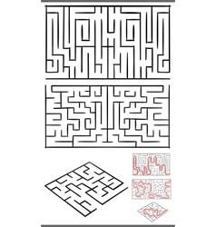 mazes or labyrinths diagrams set vector image