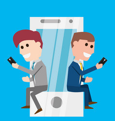 Men seated with smartphone communication lifestyle vector