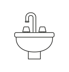 Monochrome silhouette with washbasin icon vector