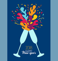 new year 2018 colorful party drink toast card vector image