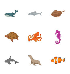 Ocean life icons set cartoon style vector