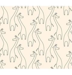 One line giraffe seamless pattern vector
