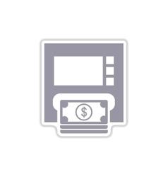 Paper sticker on white background atm money vector