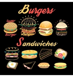 Set of bright burgers and sandwiches vector