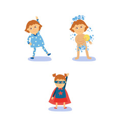 superhero girl morning routines - exercise shower vector image vector image