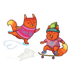 two cute baby fox skating fun characters in vector image
