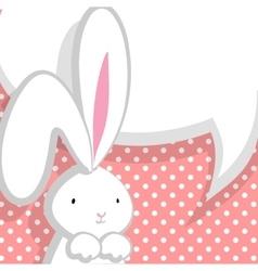 White cute rabbit pink comic bubble vector image