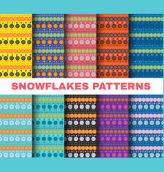 Winter pattern set christmas snowflakes on vector
