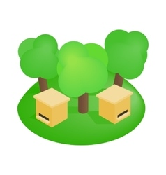 Wooden beehive in the forest isometric 3d icon vector