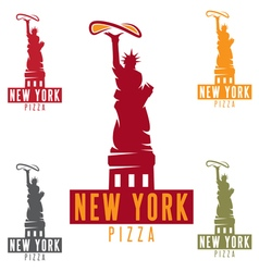 Liberty statue with pizza in new york city design vector