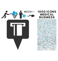 Atm machine map pointer icon with 1000 medical vector