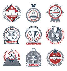 Colorful sport prizes labels set vector