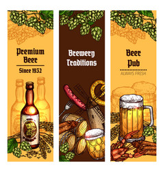 Beer with snacks banner for pub brewery design vector