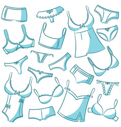 Female underwear doodle icons vector