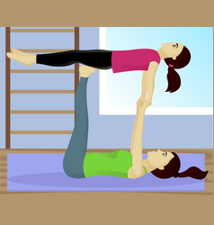 Acro yoga with child in gym vector