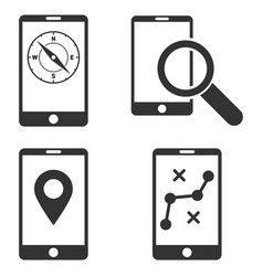 Mobile location tools flat icon set vector