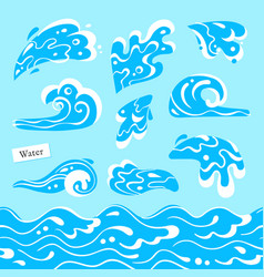 Set of isolated sea or ocean wave splashes of vector