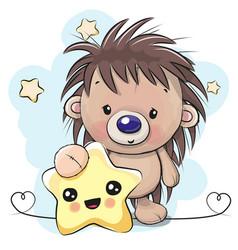 cute cartoon hedgehog with star vector image
