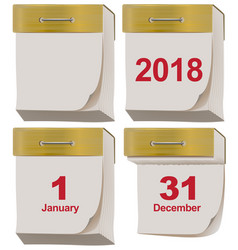 set tear off calendar 2018 vector image