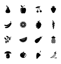 Black fruits and vegetables icons set vector