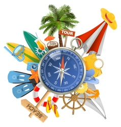 Beach concept with compass vector