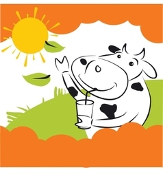 Cow with green leaves vector