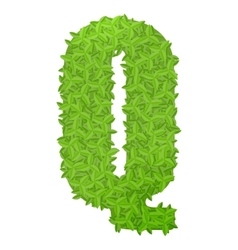 Uppecase letter q consisting of green leaves vector