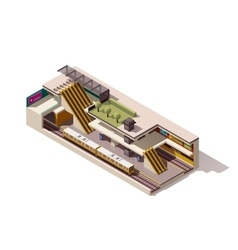 Isometric subway station cross section vector