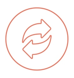 Two circular arrows line icon vector