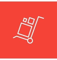 Shopping handling trolley line icon vector