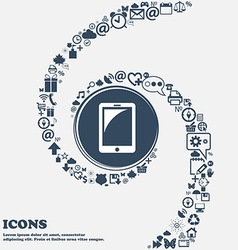 Tablet sign icon smartphone button in the center vector