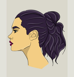 a woman with long dark blue hair in profile hair vector image