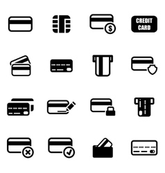 black credit card icon set vector image