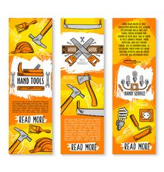 Construction handy work tools banners vector
