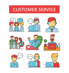 customer service thin line icons vector image vector image