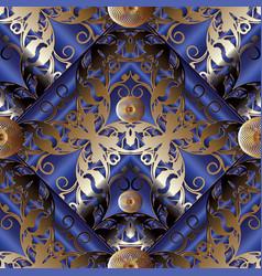 damask modern seamless pattern dark blue 3d vector image vector image