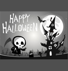 death with a scythe and haunted house vector image