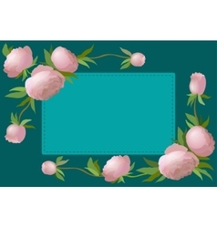 floral border with peony for vector image vector image