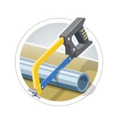 Hacksaw cut metallic pipe vector image