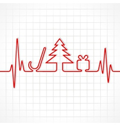 heartbeat make christmas symbols vector image
