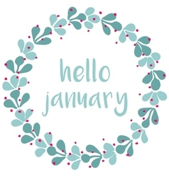 Hello january winter watercolor wreath card vector