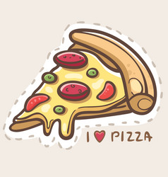 i love pizza vector image