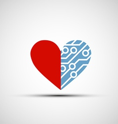 icon of human heart and circuits vector image vector image