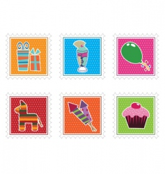 kids party stamps vector image vector image