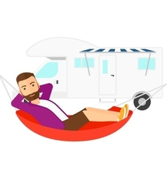Man lying in hammock vector