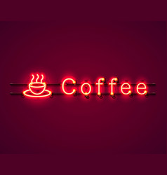neon coffee text icon signboard vector image vector image