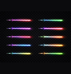 Neon light gradient swords set vector