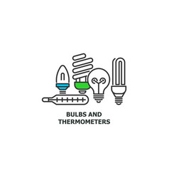 old bulbs and thermometers recycle concept icon in vector image vector image
