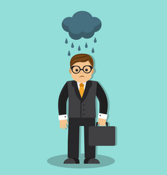 Sad businessman in the rain vector