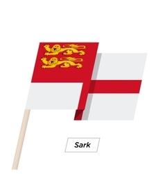 Sark ribbon waving flag isolated on white vector